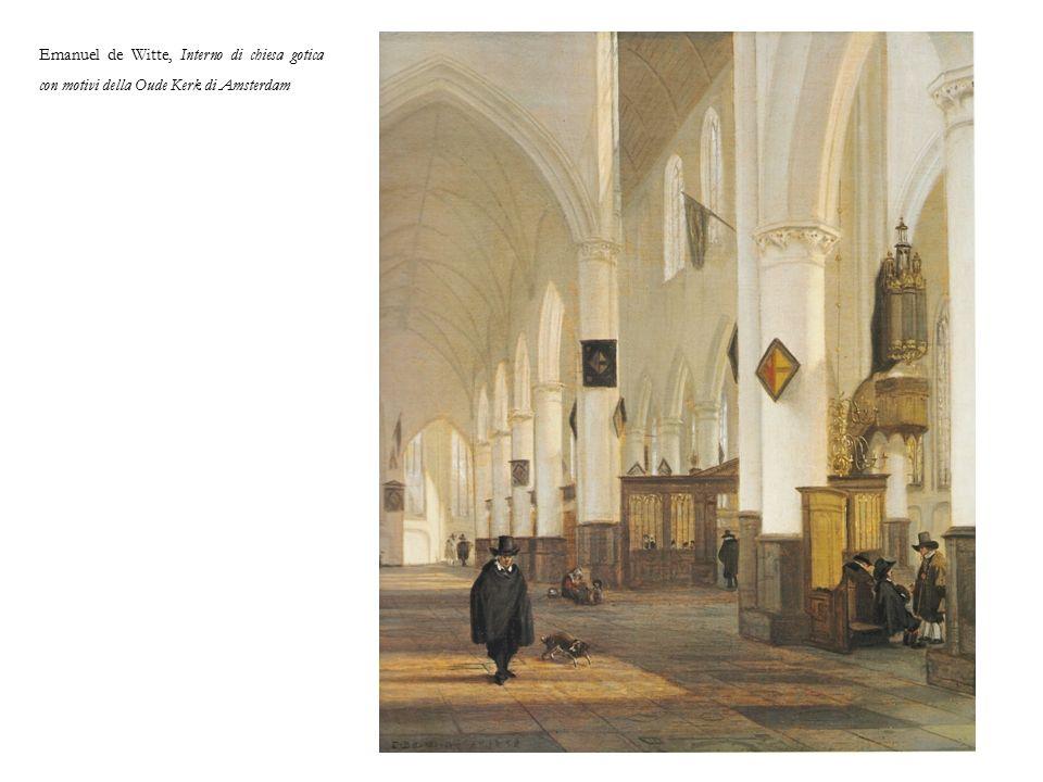 Emanuel de Witte, Interno di chiesa gotica con motivi della Oude Kerk di Amsterdam