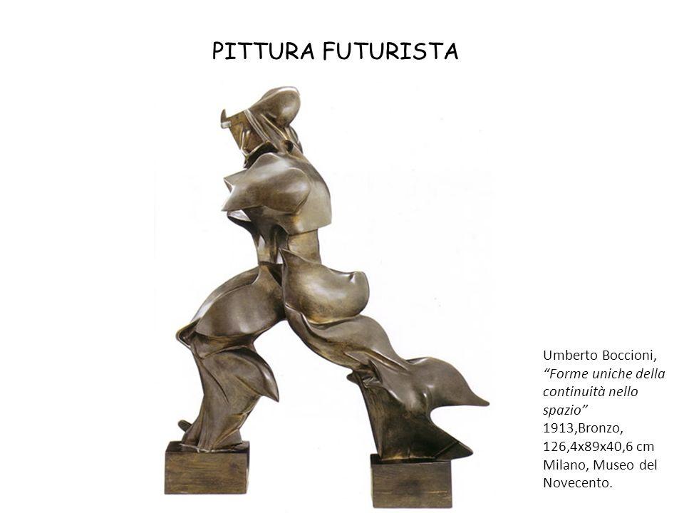 """PITTURA FUTURISTA Umberto Boccioni, """"Forme uniche della continuità nello spazio"""" 1913,Bronzo, 126,4x89x40,6 cm Milano, Museo del Novecento."""