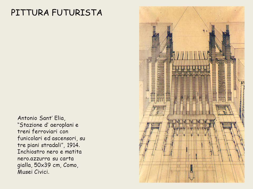 """PITTURA FUTURISTA Antonio Sant' Elia, """"Stazione d' aeroplani e treni ferroviari con funicolari ed ascensori, su tre piani stradali"""", 1914. Inchiostro"""