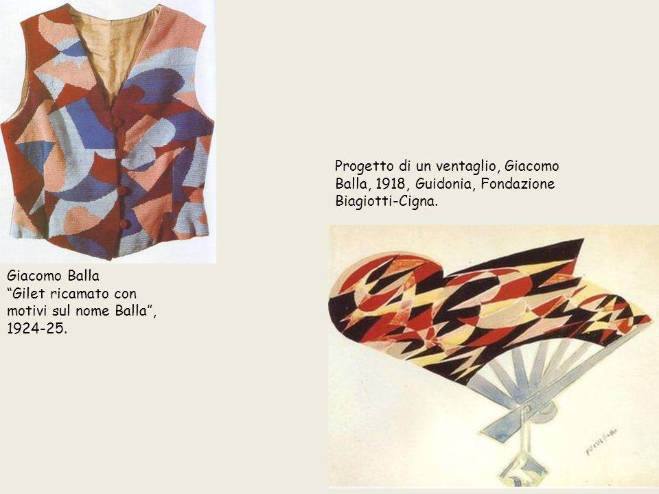 """Progetto di un ventaglio, Giacomo Balla, 1918, Guidonia, Fondazione Biagiotti-Cigna. Giacomo Balla """"Gilet ricamato con motivi sul nome Balla"""", 1924-25"""