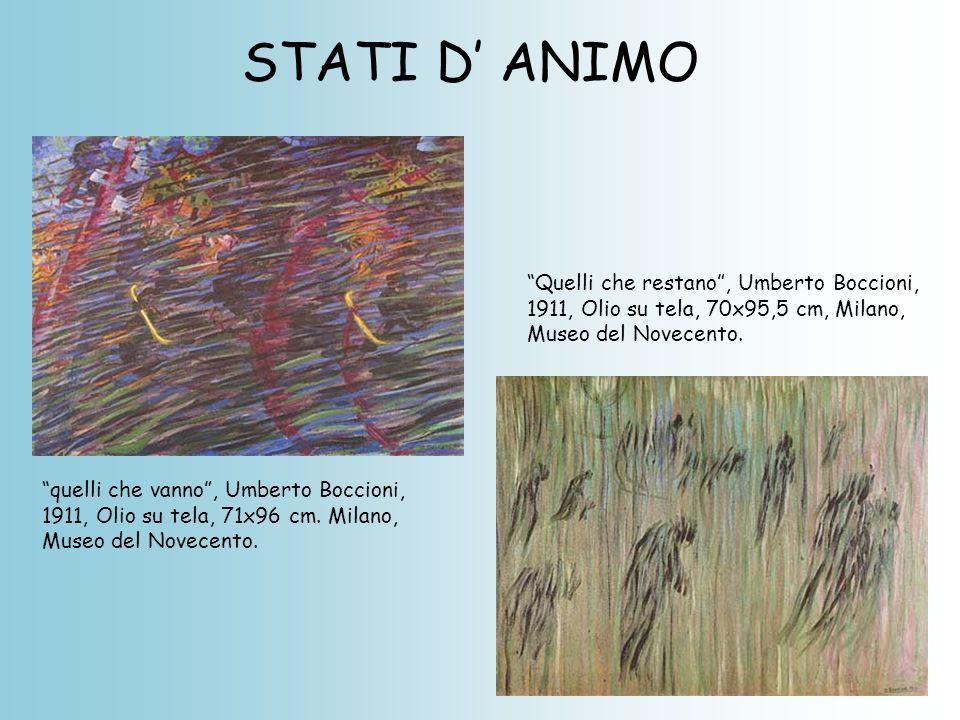 """STATI D' ANIMO """"quelli che vanno"""", Umberto Boccioni, 1911, Olio su tela, 71x96 cm. Milano, Museo del Novecento. """"Quelli che restano"""", Umberto Boccioni"""
