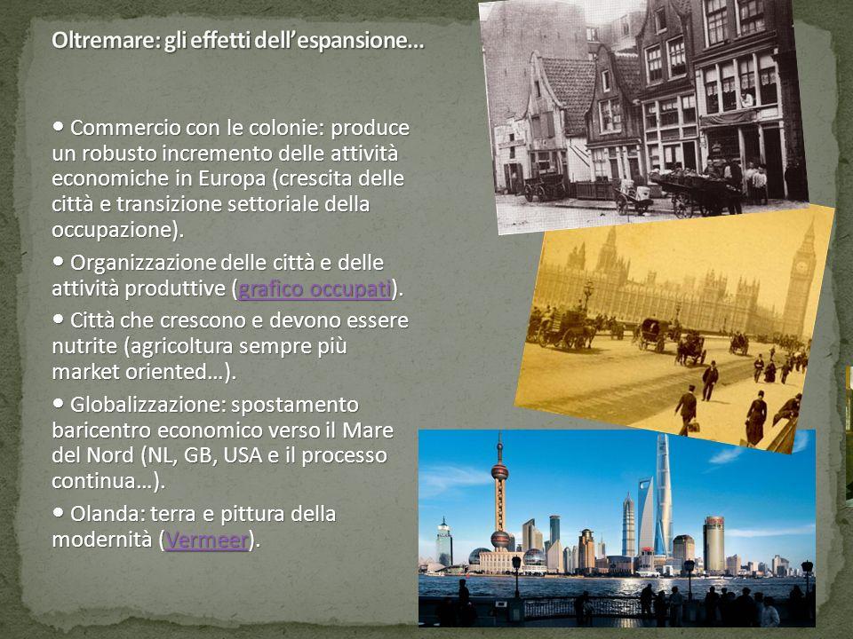 Commercio con le colonie: produce un robusto incremento delle attività economiche in Europa (crescita delle città e transizione settoriale della occup