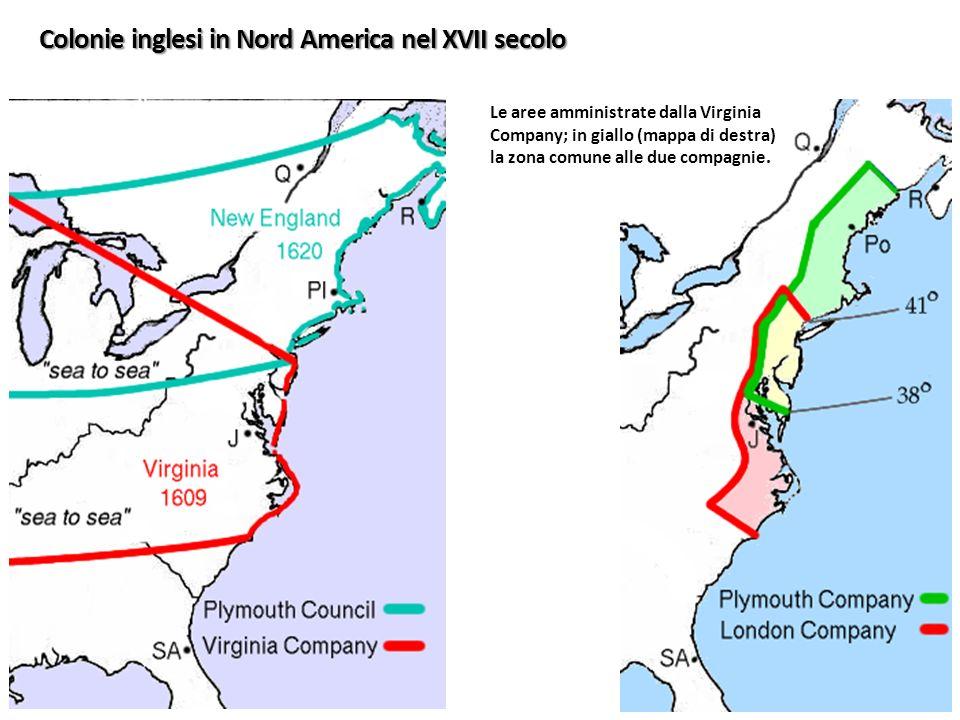 Le aree amministrate dalla Virginia Company; in giallo (mappa di destra) la zona comune alle due compagnie. Colonie inglesi in Nord America nel XVII s