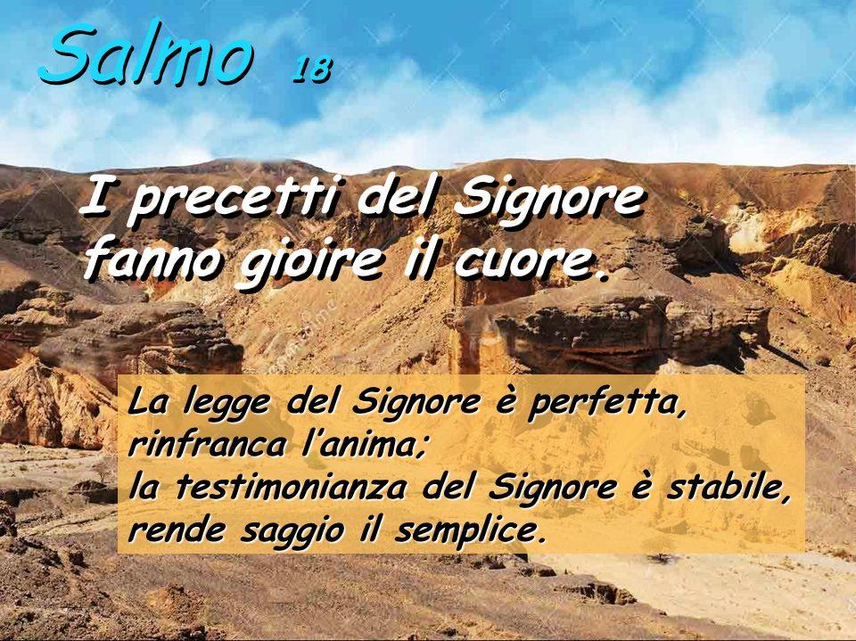 Tra i salmi di Davide, il salmo 18 fa un elogio magnifico della Legge di Dio: non solo dal punto di vista del cuore di Dio, ma anche riconoscendo gli