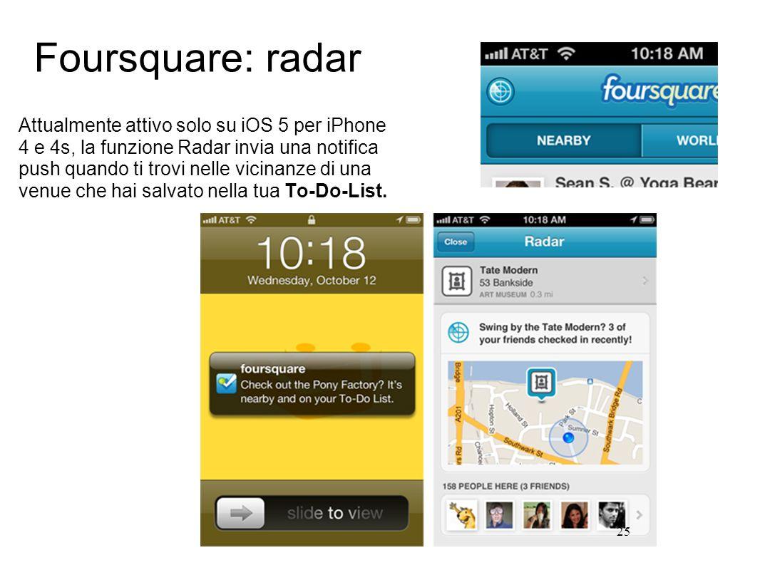 25 Attualmente attivo solo su iOS 5 per iPhone 4 e 4s, la funzione Radar invia una notifica push quando ti trovi nelle vicinanze di una venue che hai salvato nella tua To-Do-List.