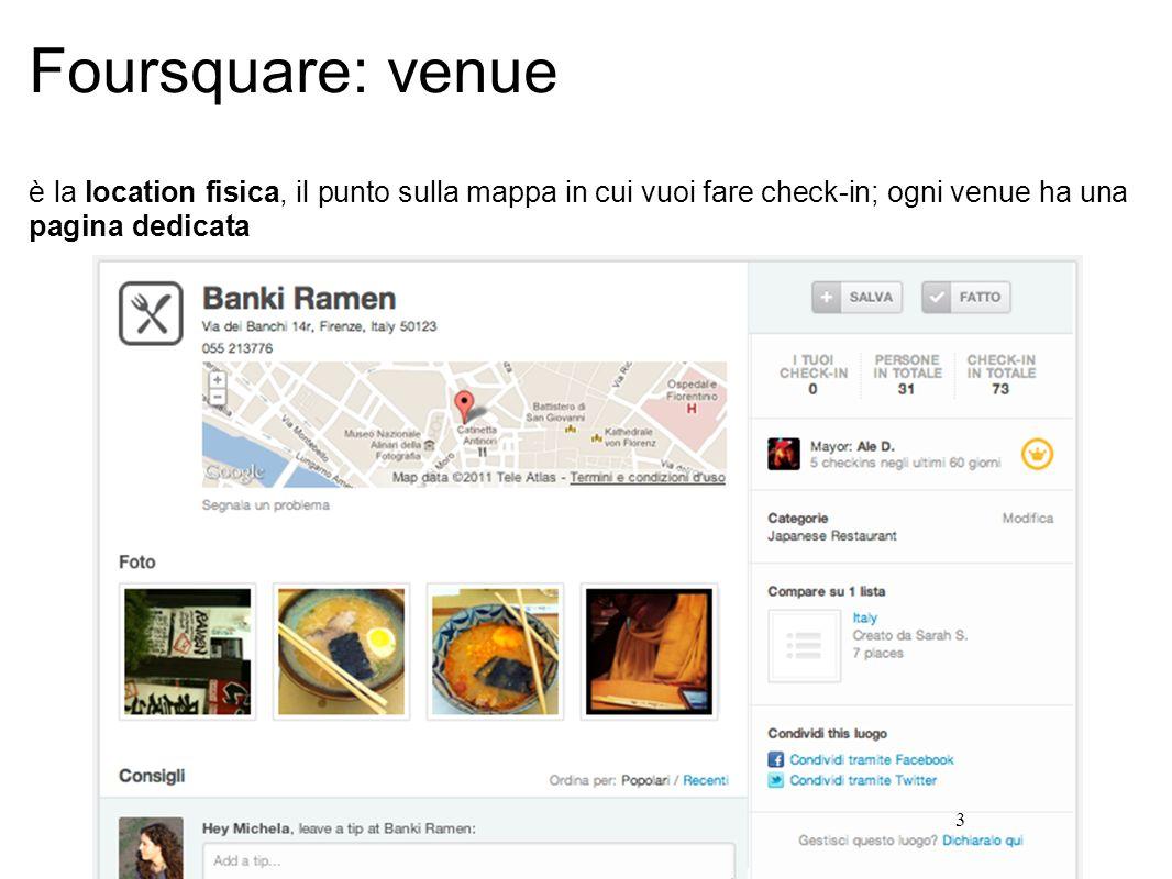 3 Foursquare: venue è la location fisica, il punto sulla mappa in cui vuoi fare check-in; ogni venue ha una pagina dedicata
