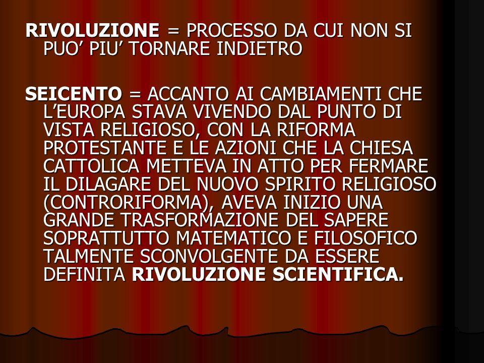 RIVOLUZIONE = PROCESSO DA CUI NON SI PUO' PIU' TORNARE INDIETRO SEICENTO = ACCANTO AI CAMBIAMENTI CHE L'EUROPA STAVA VIVENDO DAL PUNTO DI VISTA RELIGI
