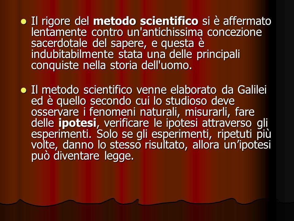 Il rigore del metodo scientifico si è affermato lentamente contro un'antichissima concezione sacerdotale del sapere, e questa è indubitabilmente stata