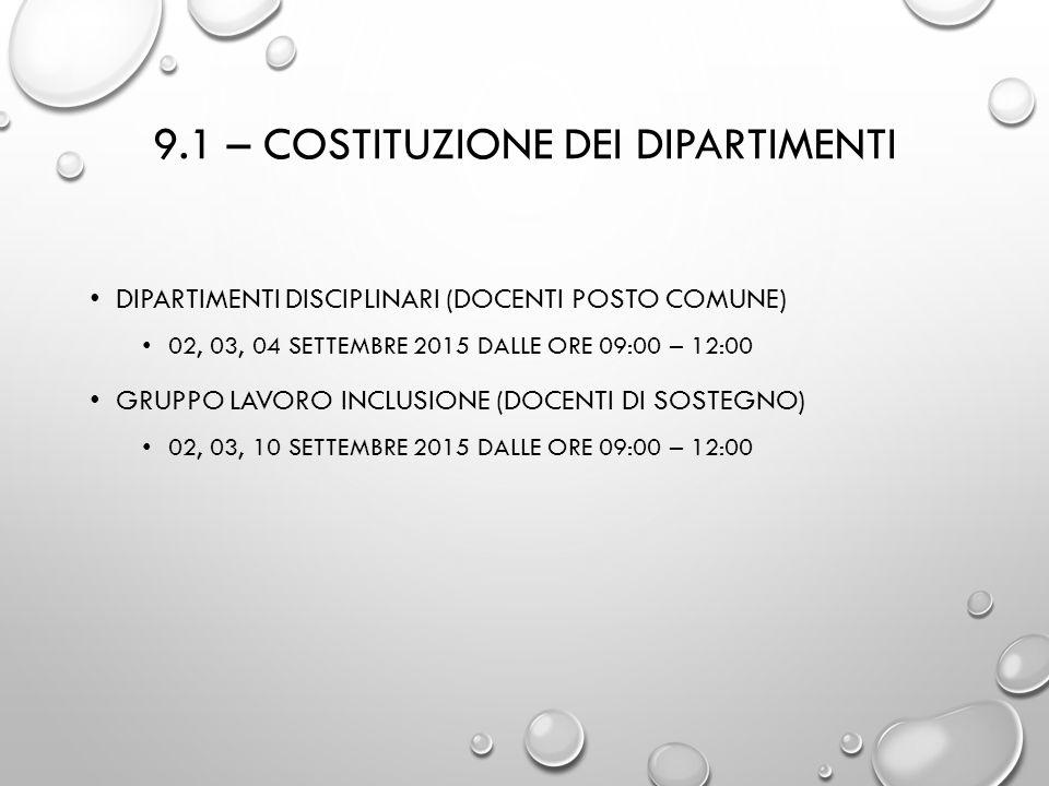 9.1 – COSTITUZIONE DEI DIPARTIMENTI DIPARTIMENTI DISCIPLINARI (DOCENTI POSTO COMUNE) 02, 03, 04 SETTEMBRE 2015 DALLE ORE 09:00 – 12:00 GRUPPO LAVORO I