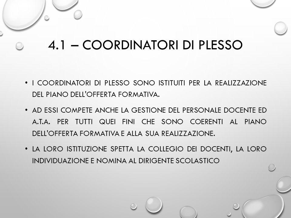 4.1 – COORDINATORI DI PLESSO I COORDINATORI DI PLESSO SONO ISTITUITI PER LA REALIZZAZIONE DEL PIANO DELL'OFFERTA FORMATIVA. AD ESSI COMPETE ANCHE LA G