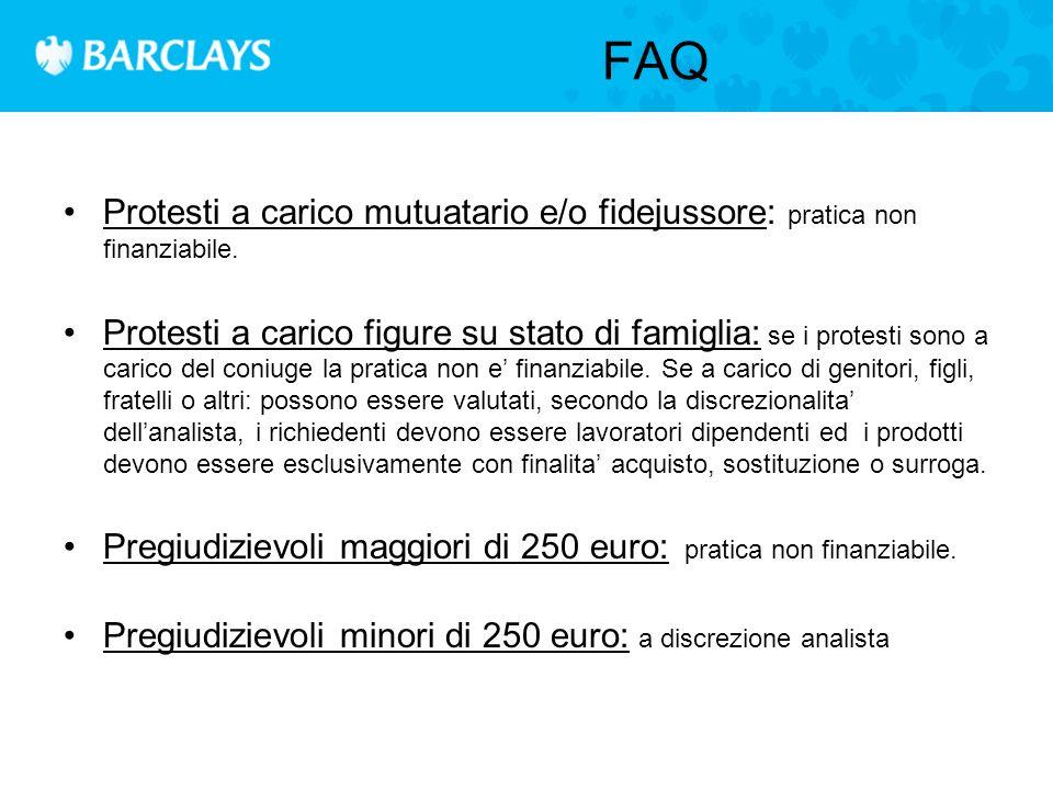 FAQ Protesti a carico mutuatario e/o fidejussore: pratica non finanziabile.