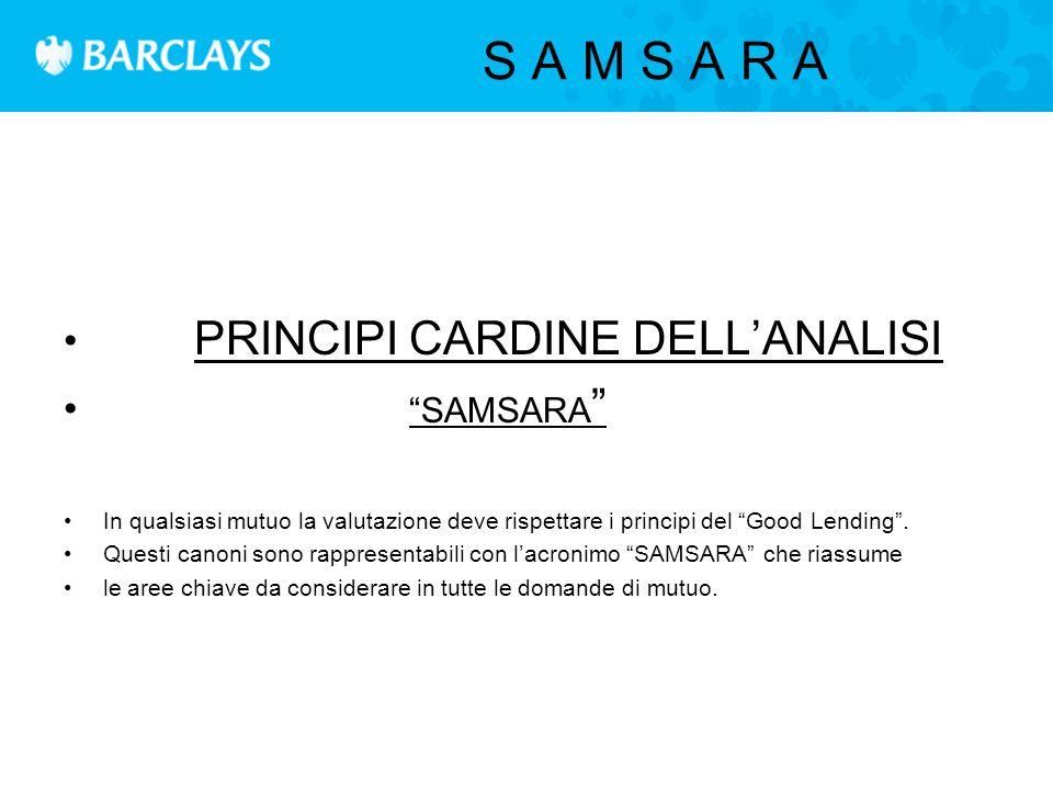 S A M S A R A PRINCIPI CARDINE DELL'ANALISI SAMSARA In qualsiasi mutuo la valutazione deve rispettare i principi del Good Lending .