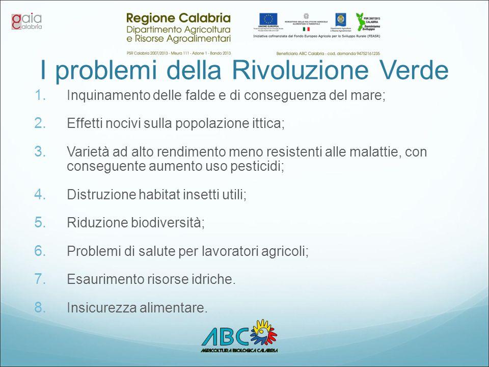 I problemi della Rivoluzione Verde 1. Inquinamento delle falde e di conseguenza del mare; 2. Effetti nocivi sulla popolazione ittica; 3. Varietà ad al