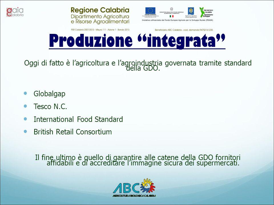 """Produzione """"integrata"""" Oggi di fatto è l'agricoltura e l'agroindustria governata tramite standard della GDO. Globalgap Tesco N.C. International Food S"""