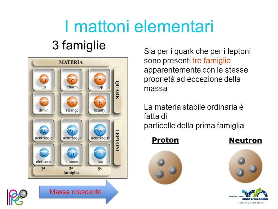 I mattoni elementari 3 famiglie Sia per i quark che per i leptoni sono presenti tre famiglie apparentemente con le stesse proprietà ad eccezione della massa La materia stabile ordinaria è fatta di particelle della prima famiglia Massa crescente