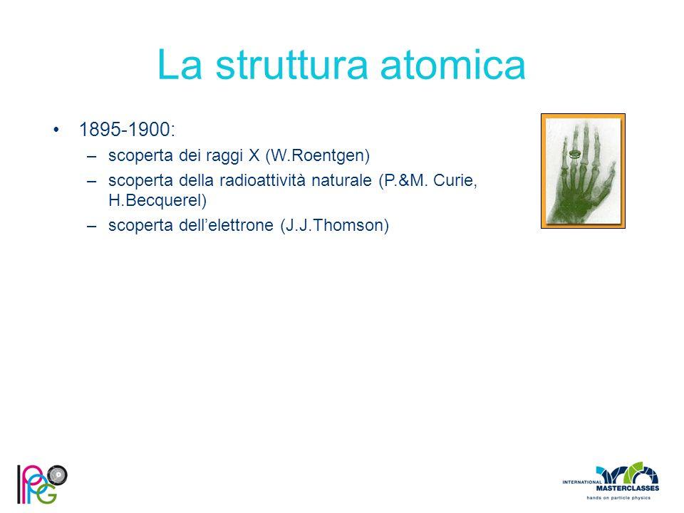 La struttura atomica 1895-1900: –scoperta dei raggi X (W.Roentgen) –scoperta della radioattività naturale (P.&M.