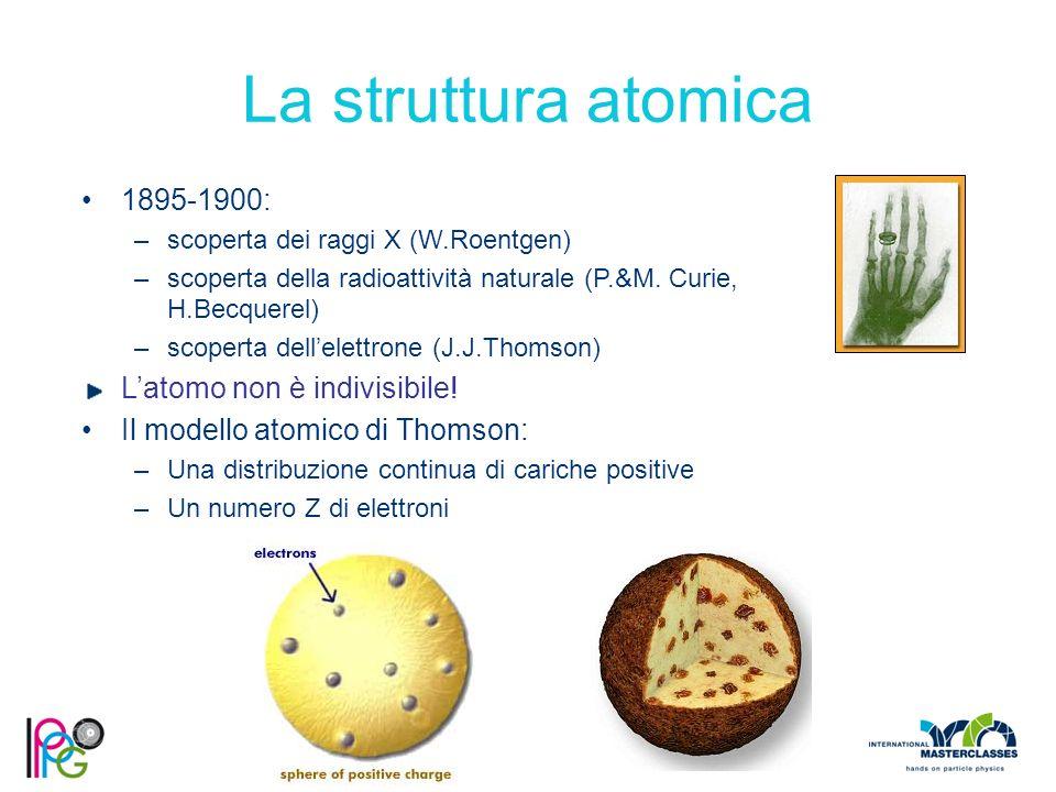 La struttura atomica 1895-1900: –scoperta dei raggi X (W.Roentgen) –scoperta della radioattività naturale (P.&M. Curie, H.Becquerel) –scoperta dell'el