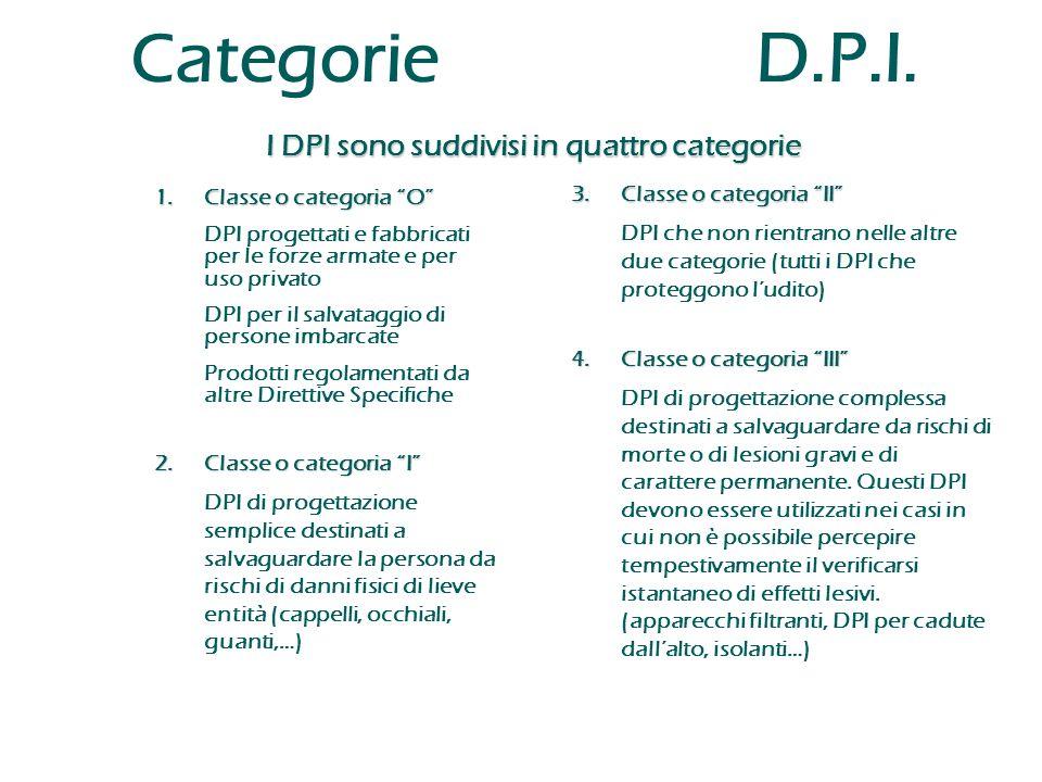 """Categorie D.P.I. I DPI sono suddivisi in quattro categorie 1.Classe o categoria """"O"""" DPI progettati e fabbricati per le forze armate e per uso privato"""