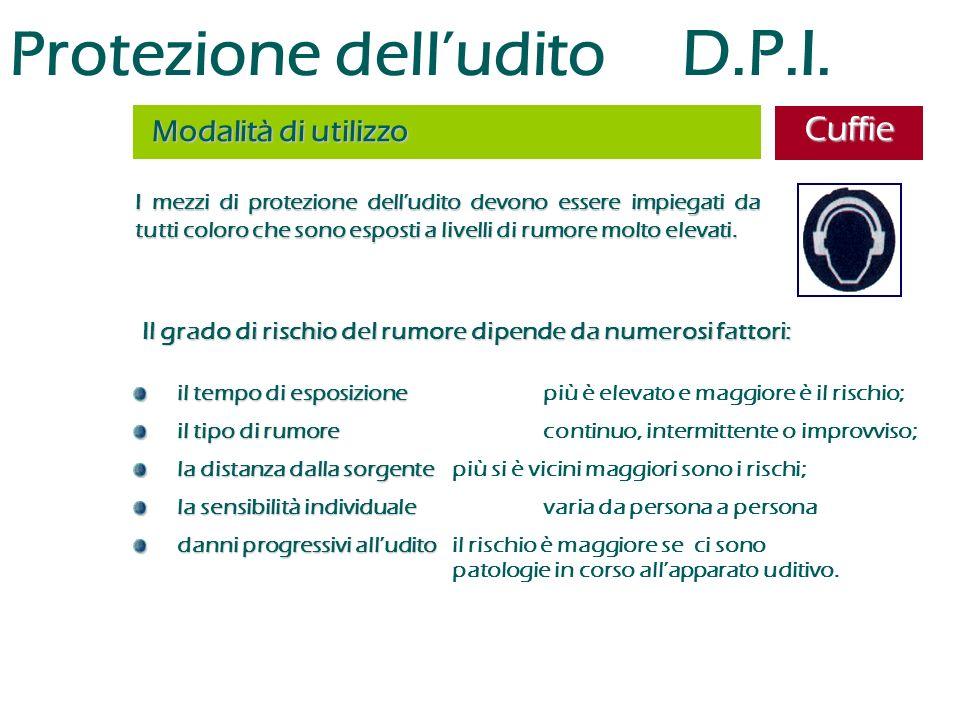 Protezione dell'udito D.P.I. I mezzi di protezione dell'udito devono essere impiegati da tutti coloro che sono esposti a livelli di rumore molto eleva