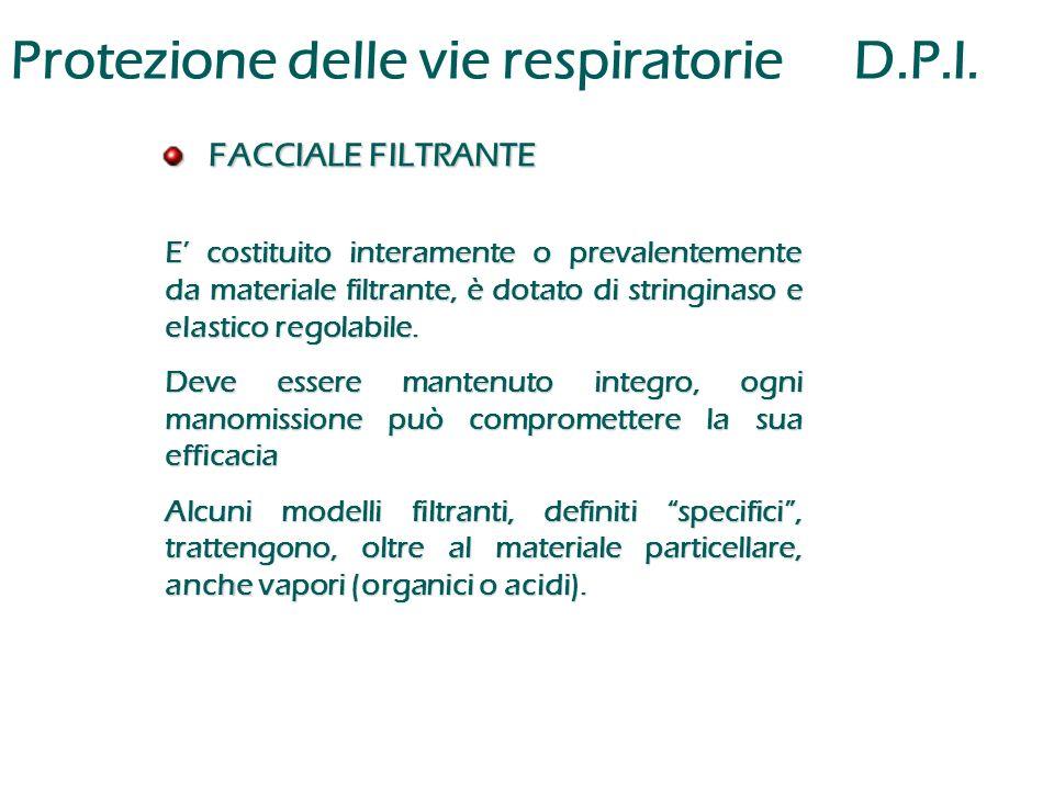 Protezione delle vie respiratorieD.P.I. FACCIALE FILTRANTE FACCIALE FILTRANTE E' costituito interamente o prevalentemente da materiale filtrante, è do