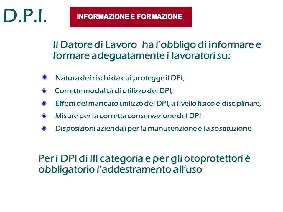 D.P.I. INFORMAZIONE E FORMAZIONE Natura dei rischi da cui protegge il DPI, Natura dei rischi da cui protegge il DPI, Corrette modalità di utilizzo del