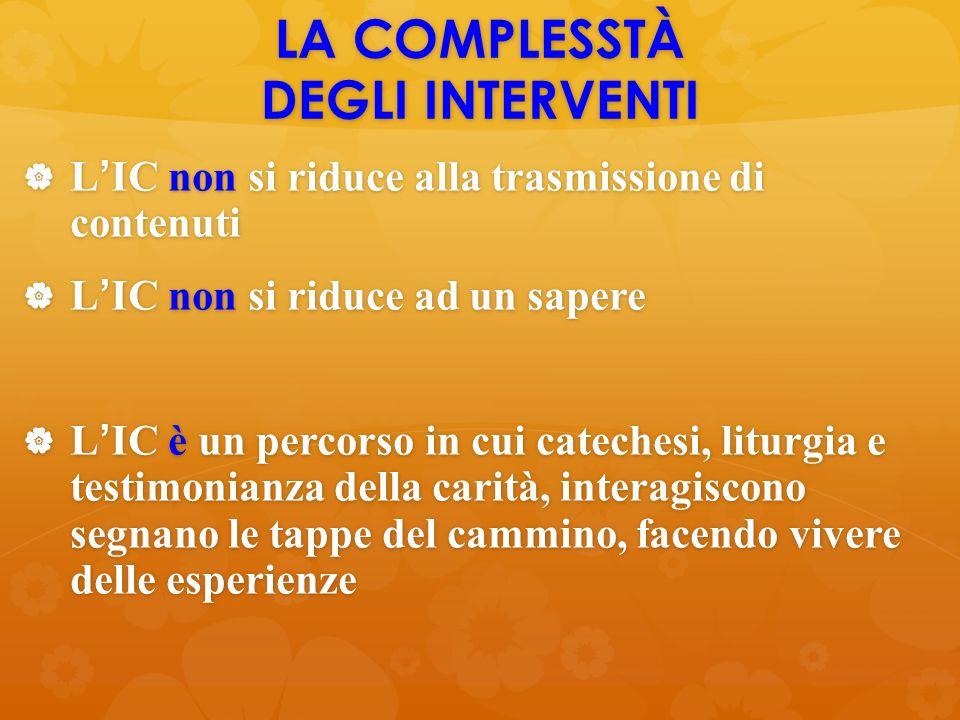 LA COMPLESSTÀ DEGLI INTERVENTI  L'IC non si riduce alla trasmissione di contenuti  L'IC non si riduce ad un sapere  L'IC è un percorso in cui catec