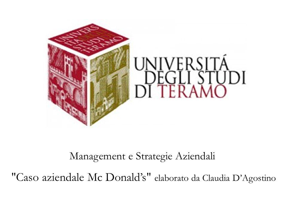 Management e Strategie Aziendali Caso aziendale Mc Donald's elaborato da Claudia D'Agostino
