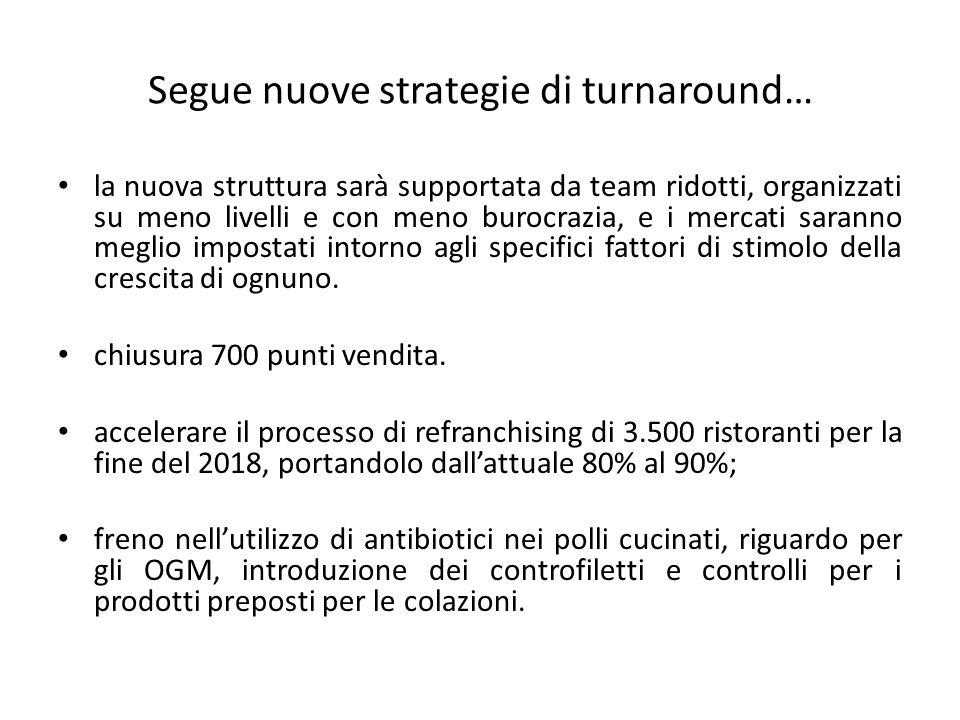 Segue nuove strategie di turnaround… la nuova struttura sarà supportata da team ridotti, organizzati su meno livelli e con meno burocrazia, e i mercati saranno meglio impostati intorno agli specifici fattori di stimolo della crescita di ognuno.
