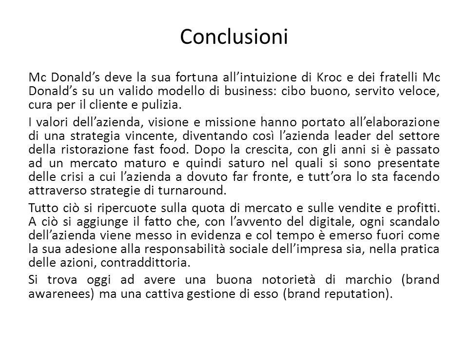 Conclusioni Mc Donald's deve la sua fortuna all'intuizione di Kroc e dei fratelli Mc Donald's su un valido modello di business: cibo buono, servito veloce, cura per il cliente e pulizia.