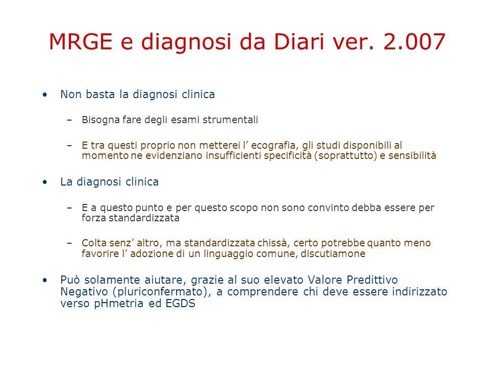 MRGE e diagnosi da Diari ver. 2.007 Non basta la diagnosi clinica –Bisogna fare degli esami strumentali –E tra questi proprio non metterei l' ecografi