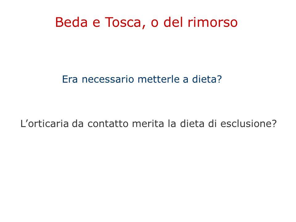 Era necessario metterle a dieta? Beda e Tosca, o del rimorso L'orticaria da contatto merita la dieta di esclusione?
