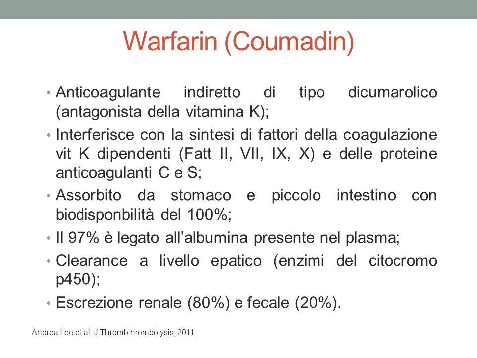 Warfarin (Coumadin) Anticoagulante indiretto di tipo dicumarolico (antagonista della vitamina K); Interferisce con la sintesi di fattori della coagulazione vit K dipendenti (Fatt II, VII, IX, X) e delle proteine anticoagulanti C e S; Assorbito da stomaco e piccolo intestino con biodisponbilità del 100%; Il 97% è legato all'albumina presente nel plasma; Clearance a livello epatico (enzimi del citocromo p450); Escrezione renale (80%) e fecale (20%).