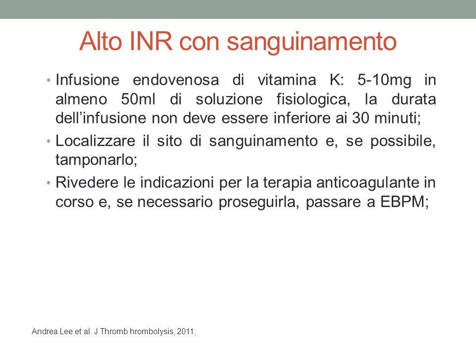 Alto INR con sanguinamento Infusione endovenosa di vitamina K: 5-10mg in almeno 50ml di soluzione fisiologica, la durata dell'infusione non deve esser