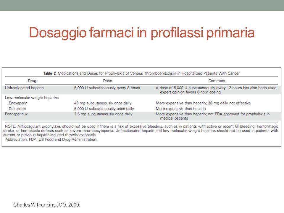 Dosaggio farmaci in profilassi primaria Charles W Francins JCO, 2009;