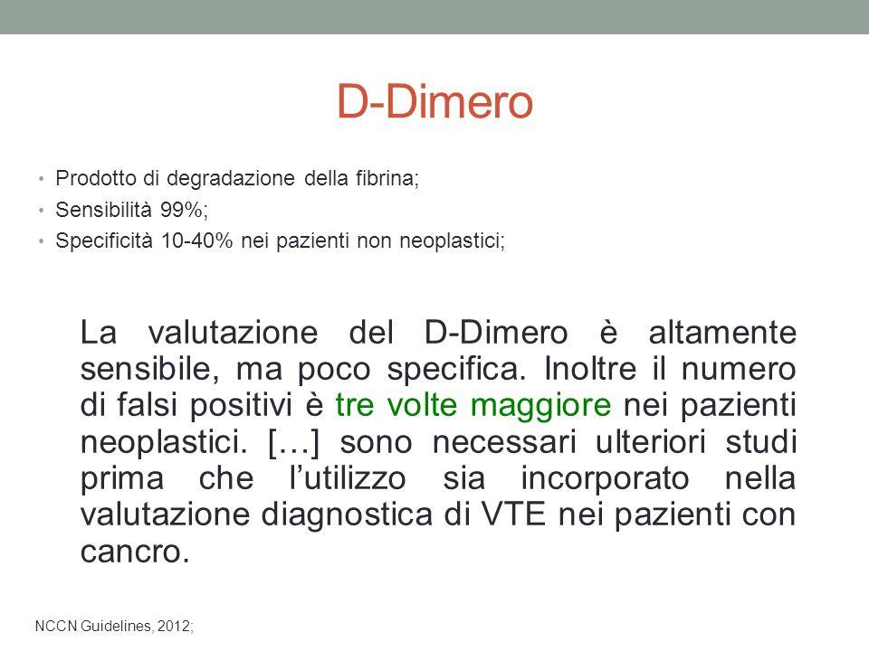 NCCN Guidelines, 2012; La valutazione del D-Dimero è altamente sensibile, ma poco specifica. Inoltre il numero di falsi positivi è tre volte maggiore