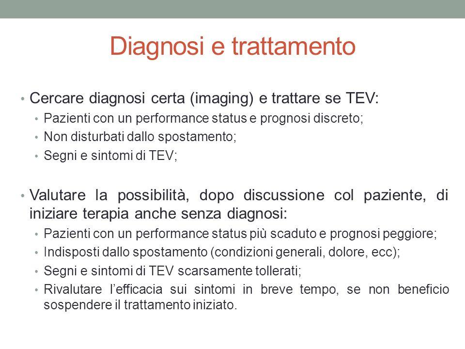 Diagnosi e trattamento Cercare diagnosi certa (imaging) e trattare se TEV: Pazienti con un performance status e prognosi discreto; Non disturbati dallo spostamento; Segni e sintomi di TEV; Valutare la possibilità, dopo discussione col paziente, di iniziare terapia anche senza diagnosi: Pazienti con un performance status più scaduto e prognosi peggiore; Indisposti dallo spostamento (condizioni generali, dolore, ecc); Segni e sintomi di TEV scarsamente tollerati; Rivalutare l'efficacia sui sintomi in breve tempo, se non beneficio sospendere il trattamento iniziato.