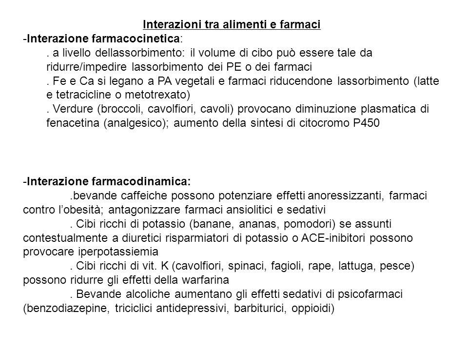 Interazioni tra alimenti e farmaci -Interazione farmacocinetica:. a livello dellassorbimento: il volume di cibo può essere tale da ridurre/impedire la