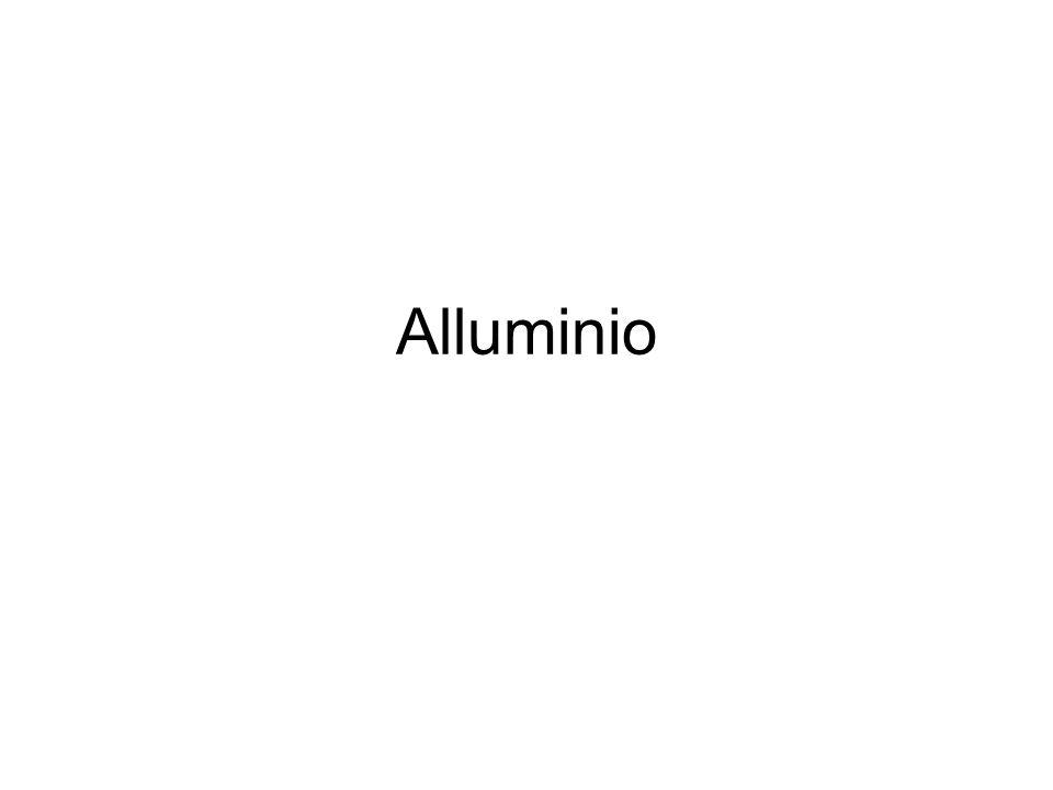 Elemento chimico di simbolo Al, peso atomico 26,98 e numero atomico 13, appartenente al III gruppo del sistema periodico.
