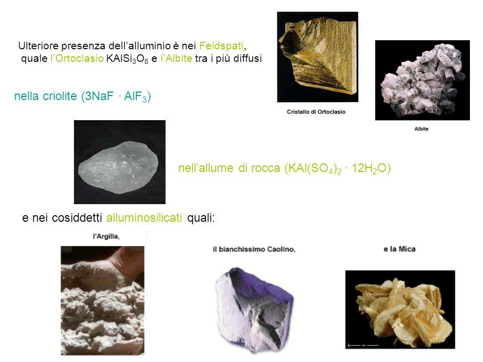 Ulteriore presenza dell'alluminio è nei Feldspati, quale l'Ortoclasio KAlSi 3 O 8 e l'Albite tra i più diffusi e nei cosiddetti alluminosilicati quali