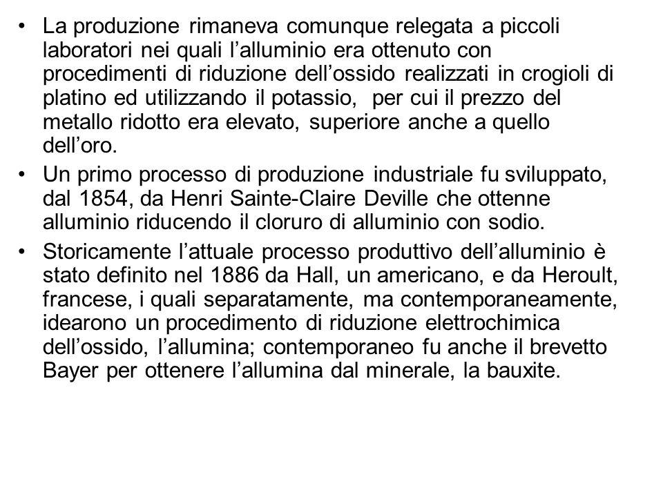 La produzione rimaneva comunque relegata a piccoli laboratori nei quali l'alluminio era ottenuto con procedimenti di riduzione dell'ossido realizzati