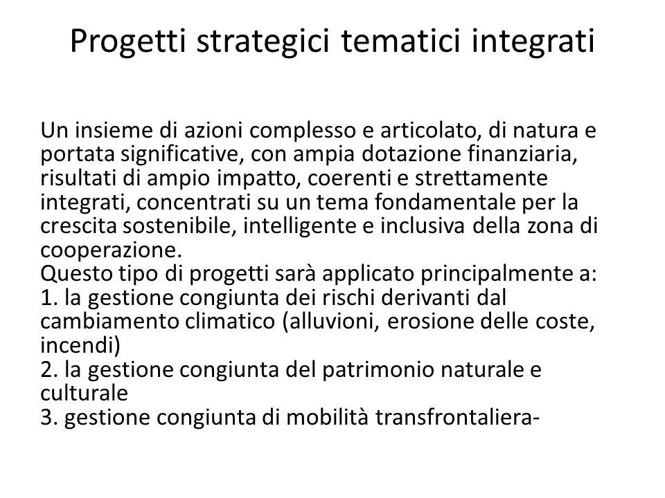 Progetti strategici tematici integrati Un insieme di azioni complesso e articolato, di natura e portata significative, con ampia dotazione finanziaria, risultati di ampio impatto, coerenti e strettamente integrati, concentrati su un tema fondamentale per la crescita sostenibile, intelligente e inclusiva della zona di cooperazione.