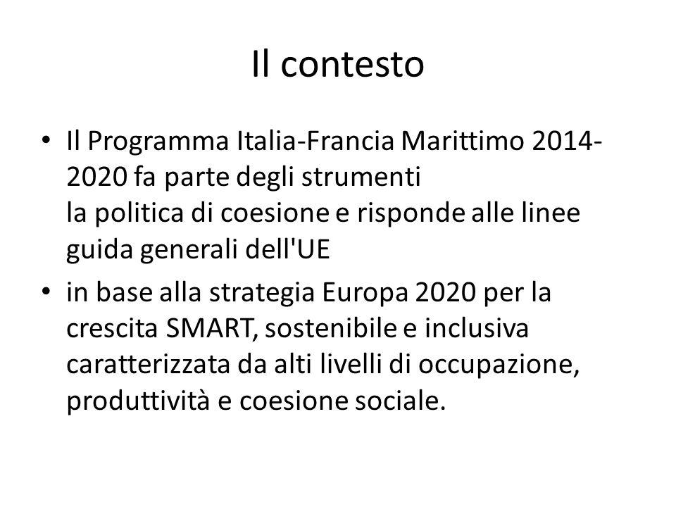Il contesto Il Programma Italia-Francia Marittimo 2014- 2020 fa parte degli strumenti la politica di coesione e risponde alle linee guida generali dell UE in base alla strategia Europa 2020 per la crescita SMART, sostenibile e inclusiva caratterizzata da alti livelli di occupazione, produttività e coesione sociale.