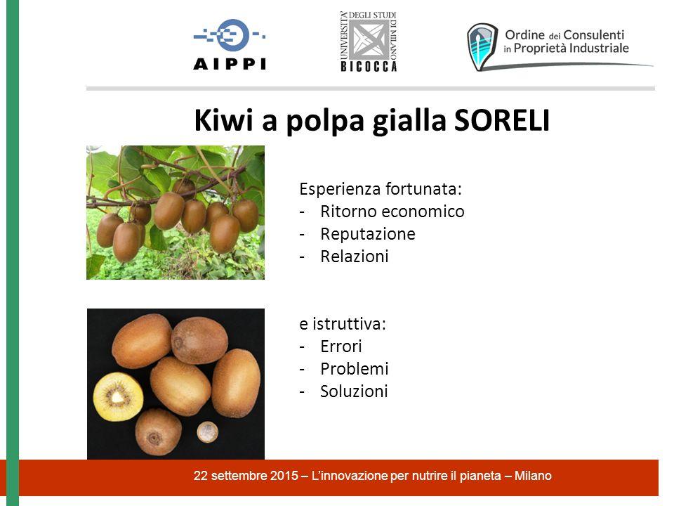 22 settembre 2015 – L'innovazione per nutrire il pianeta – Milano Kiwi a polpa gialla SORELI Esperienza fortunata: -Ritorno economico -Reputazione -Relazioni e istruttiva: -Errori -Problemi -Soluzioni