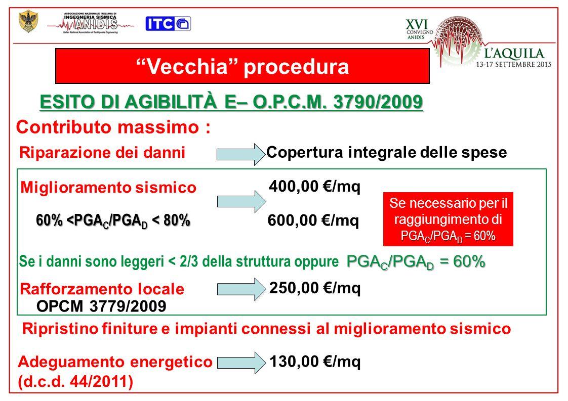 nuova procedura METODO PARAMETRICO – D.P.C.M.