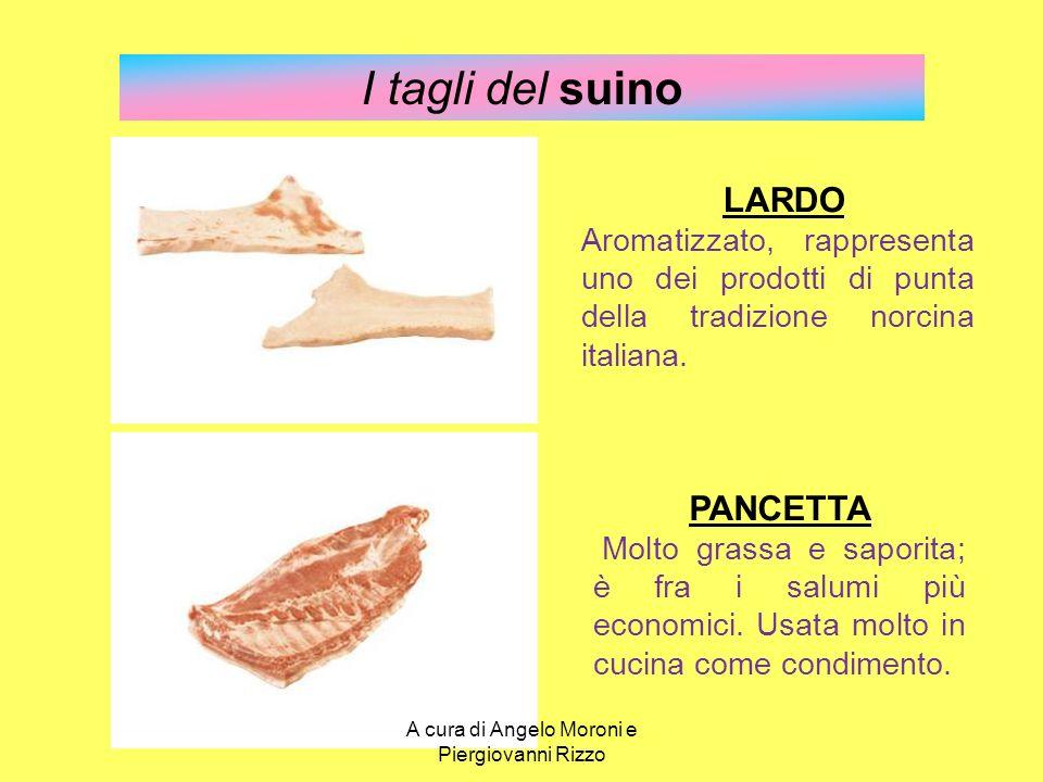 I tagli del suino LARDO Aromatizzato, rappresenta uno dei prodotti di punta della tradizione norcina italiana. PANCETTA Molto grassa e saporita; è fra