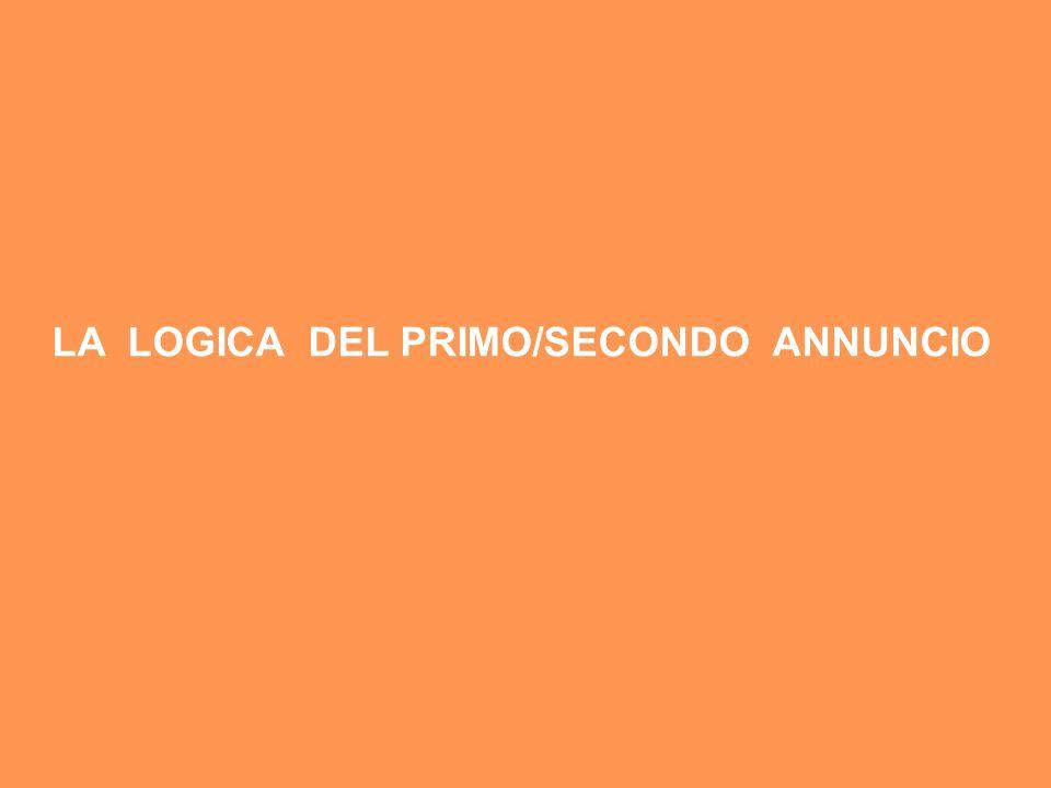 LA LOGICA DEL PRIMO/SECONDO ANNUNCIO