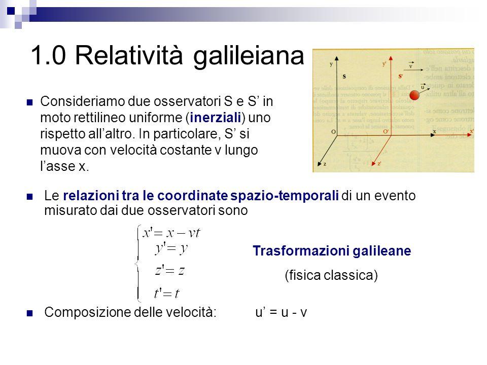 1.0 Relatività galileiana Le relazioni tra le coordinate spazio-temporali di un evento misurato dai due osservatori sono Composizione delle velocità: u' = u - v Trasformazioni galileane (fisica classica) Consideriamo due osservatori S e S' in moto rettilineo uniforme (inerziali) uno rispetto all'altro.
