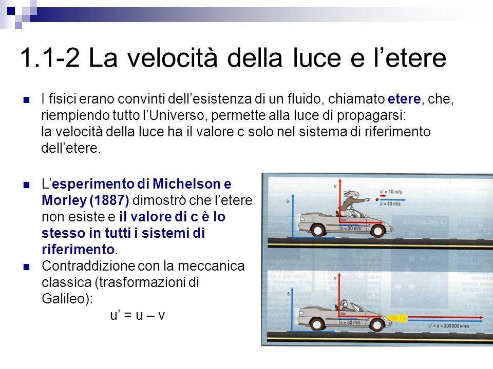1.1-2 La velocità della luce e l'etere I fisici erano convinti dell'esistenza di un fluido, chiamato etere, che, riempiendo tutto l'Universo, permette alla luce di propagarsi: la velocità della luce ha il valore c solo nel sistema di riferimento dell'etere.