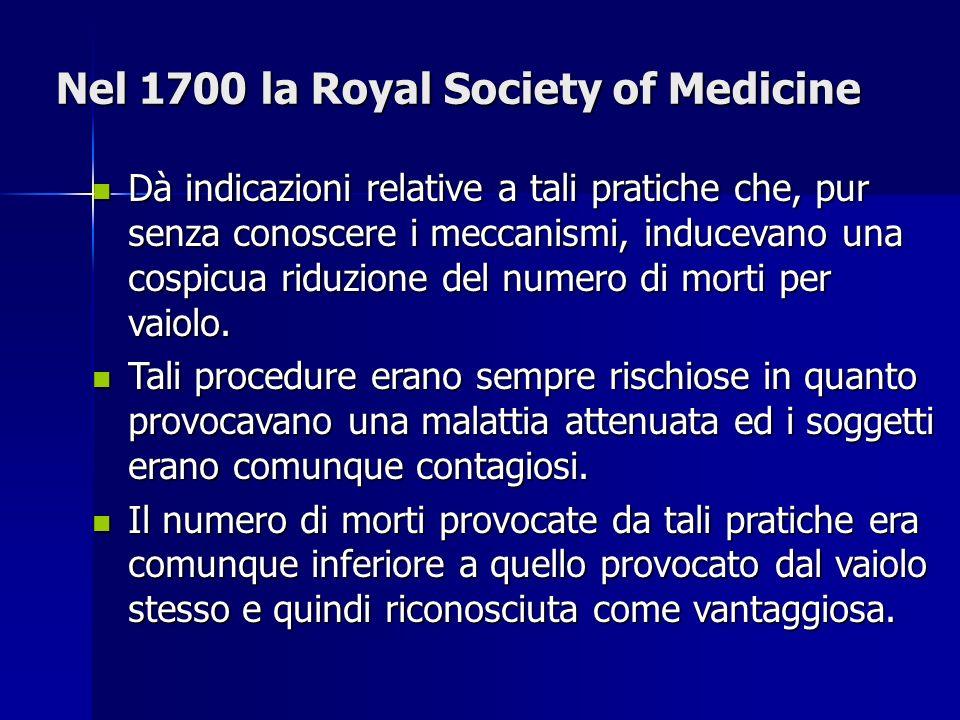 Nel 1700 la Royal Society of Medicine Dà indicazioni relative a tali pratiche che, pur senza conoscere i meccanismi, inducevano una cospicua riduzione del numero di morti per vaiolo.