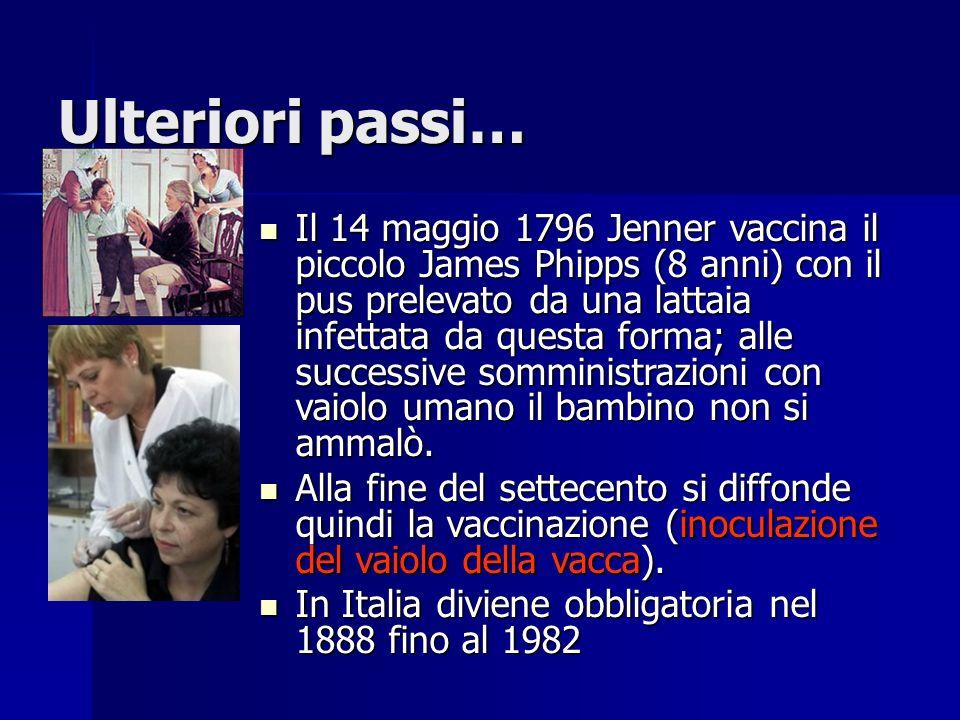 Ulteriori passi… Il 14 maggio 1796 Jenner vaccina il piccolo James Phipps (8 anni) con il pus prelevato da una lattaia infettata da questa forma; alle successive somministrazioni con vaiolo umano il bambino non si ammalò.